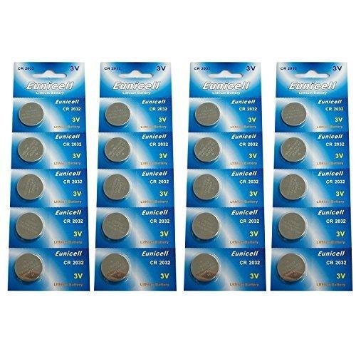 Eunicell CR2032 5004LC Lithium Blister Pack 3V 3 Volt Coin Cell Batteries (20 pcs) by Eunicell Lithium Blister Pack