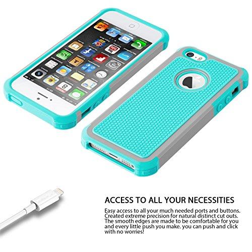 iPhone 7 Plus Cases, Case Cover duplice ibrido per iPhone 7 Plus 5,5 Plus pollici. Cover duro per iPhone 7 Plus PC+ Silicone ibrido impatto grande Difensore custodia Combo duro morbido Cases Covers,Ne verde-iPhone 5/5S/SE