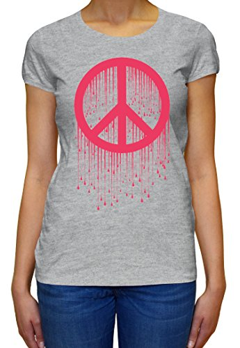 Peace Painted Logo Pink Graphic Design Women's T-shirt XX-Large (Painted T-shirt Womens Logo)