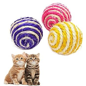 Chytaii 3x Balles Jouets Chats en Sisal Balles Interactifs Sonores avec Bruits Multicolore pour Animaux