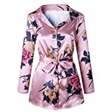 GreatestPAK Blumendruck Damen Bluse Satin Seide lose Damen Kleid mit V-Ausschnitt T-Shirt,Rosa,M