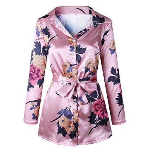 GreatestPAK Blumendruck Damen Bluse Satin Seide lose Damen Kleid mit V-Ausschnitt T-Shirt,Rosa,XL
