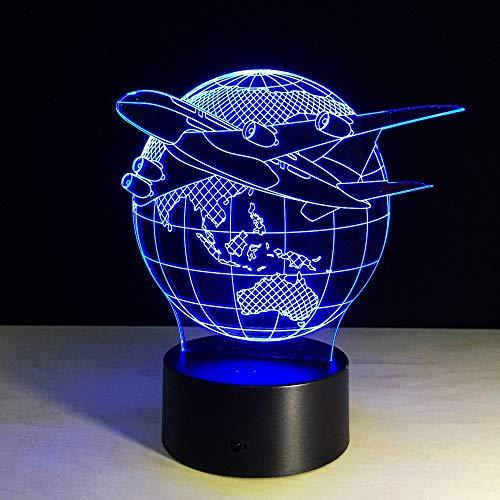 sanzangtang LED Nachtlicht-3D-sieben Farbe-Fernbedienung Flugzeug fliegen Erde Licht Farbe ändern Fernbedienung Nachtlicht Farbe Licht Atmosphäre Licht Schlafzimmer Licht GeschenkNachtlicht