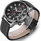 modiwen Herren Lederband Quarz Sport ursächliche Uhren mit wasserdicht Business Chronograph Stecker Armbanduhr Analog grau