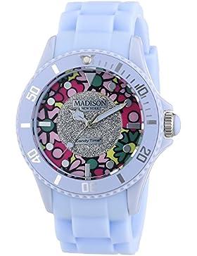 MADISON NEW YORK Damen-Armbanduhr Candy Time Flower Power Analog Quarz Silikon U4617-25
