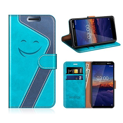 MOBESV Smiley Nokia 3 2018 Hülle Leder, Nokia 3 2018 Tasche Lederhülle/Wallet Case/Ledertasche Handyhülle/Schutzhülle für Nokia 3 2018, Aqua/Dunkel Blau