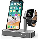 iVAPO Apple Watch und iPhone Ladestation Apple Watch Ständer für Apple Watch Series 2/ Apple Watch Series 3/ Apple Watch Series 3 with Cellular/ Apple Watch Series 1/ Apple Watch Nike + und iPhone 8, iPhone 8 plus, iPhone X, iPhone 6 Plus, iPhone 6, iPhone 7 Plus, iPhone 7, iPhone SE, iPhone 5 (ohne Kabel)(Grau)