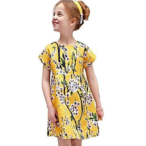 Fashion Robe Fille Dentelle À Mousseline de soie (3-4 années, yellow)