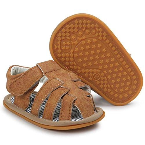 BZLine® Baby jungen Sandalen Sneaker Anti-Rutsch weiche Sohle Kleinkind Sandals Khaki ZGlMAl0