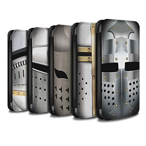 STUFF4 PU-Leder Hülle/Case/Tasche/Cover für Apple iPhone 7 / Beckenhaube Helm Muster / Ritter Rüstung Kollektion Pack 5pcs