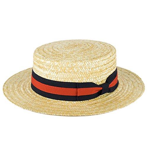 Herren Damen Sommer Handgefertigt in Italien Classic Sailor Skimmer Stroh Boater Sun Hut/Kappe/Mutze/Hüte, Marineblau-rotes Band, (Hüte Skimmer)