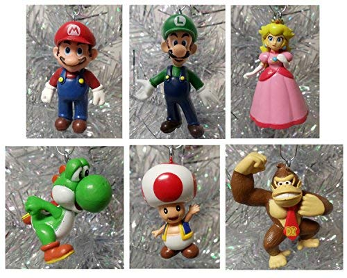 Super Mario Brothers 6Stück, Christmas Holiday Ornament Set mit Mario, Luigi, Donkey Kong, Yoshi, Toad und Prinzessin Peach-Serie bruchsicher Ornaments von 3,8cm bis 7,6cm Hoch (Prinzessin Und Luigi Mario,)