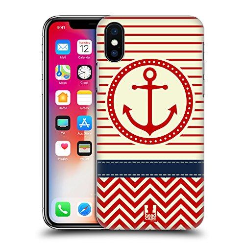 Head Case Designs Ancora Rossa Chevron Nautiche Cover Retro Rigida per Apple iPhone X Ancora Rossa