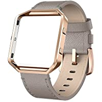 """Fitbit Blaze Straps Leather Band - Yutior Genuine Leather Strap with Metal Frame Small Large (5""""-8.2""""), Replacement Band Accessories with Silver / Rose Gold / Black Metal Frame for Fitbit Blaze Fitness Women Men, Black, Brown, Grey, Beige, White, Pink, Blue"""
