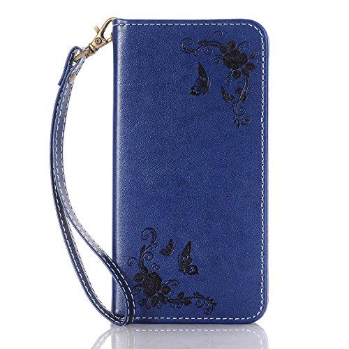 EKINHUI Case Cover Rose Blumen geprägtes Muster Premium PU Leder Geldbörse Fall, Folio Flip Stand Fall Deckung mit Halter & Card Slots & Magnetverschluss für iPhone 7 ( Color : Gold ) Darkblue