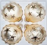 "4 tlg. Glas-Weihnachtskugeln Set 10cm Ø in ""Ice Champanger Gold"" Goldener Stern - Christbaumkugeln - Weihnachtsschmuck-Christbaumschmuck 10cm Durchmesser"