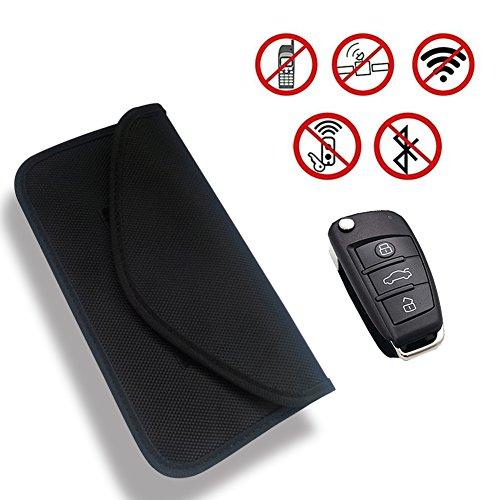 Rfid signalblockierung tasche, autoschlüssel fob signalblocker beutel fall rf schild tasche tragbare handy jammer signalblockierung karte schutzhülle brieftasche (schwarz) (Handy-störsender)