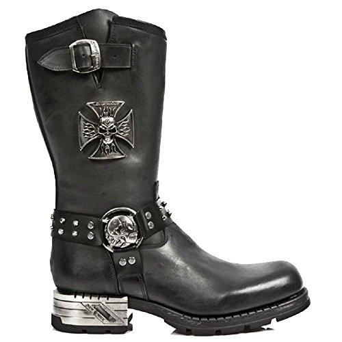 New Rock Boots mit Skull Eiserne Kreuz und Skull GŸrtelschnalle mit Stahlabsatz (Kreuz Schnallen Gothic)