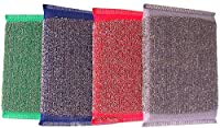 Pin to Pen Sponge Scrubber with Steel Mesh set of 4 Kitchen Cleaner (20 g) Multicolor