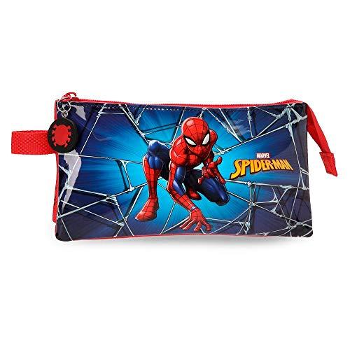 Estuche tres compartimentos Spiderman Black