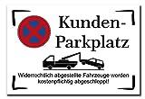 Hinweisschild Kunden Parkplatz Kundenparkplatz 300x200 mm Warnschild Aluverbundplatte 200x300x3mm stabiles Schild