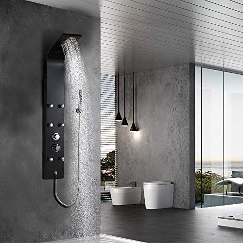 Elbe Duschpaneel mit Einhebelmischer, 6 Massagendüsen, Regendusche, Handbrause, Duschsystem mit 3 Funktionen, 140 x 18 x 6,5 cm Big-Size-Design, Außengehäuse aus Aluminiumlegierung