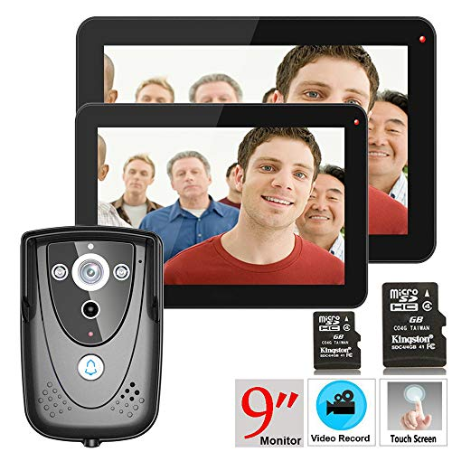 Hardwired Chime Kit (NBKLS Video-Türklingel 9 Zoll 2 Monitor DVR-Farb-Touchscreen-Video-Tür-Telefon mit PIR-Aufnahmegesystem und Infrarot-Kamera 8G SD-Karte)
