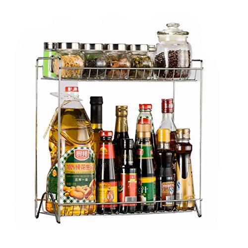 Organizador de condimentos, de Vicoki, con dos bandejas desmontables de acero inoxidable, en tono plateado, para tarros y botes