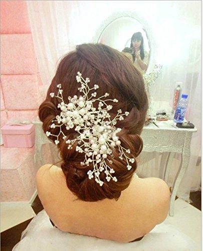 Musuntas Elegant Strass Perlen Hochzeit Braut Haarklammer Brautschmuck Braut Haarschmuck Haarclip--HG019