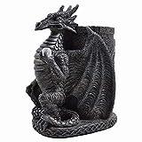 Stylo Dragon-Pot Noir gothique Motif Dark-Sculpture en résine 11,5 cm