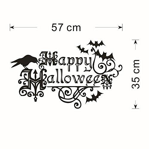 (Goosuny Happy Halloween Wandsprüche Briefe Wandaufkleber Groß Wandtattoo Wohnzimmer Kinder Schlafzimmer Wandaufkleber Fenster Zuhause Dekoration Abziehbild DIY Urlaub Dekor (Schwarz))
