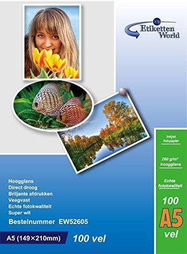 EtikettenWorld - Carta Fotografica, Formato A5, 260gram/mq, Impermeabile, Lucida, 100 Fogli