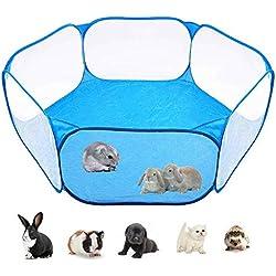 Fewao Cage pour petits animaux tente Pop Open pour petits animaux parc de jeu portable extérieur et intérieur clôture en fil métallique clôture de jardin tente pour cochons d'Inde lapins hamsters