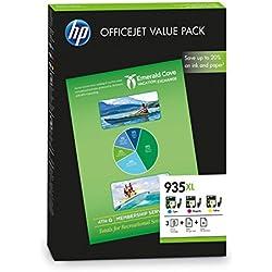 HP F6U78AE 935XL Paquete de alto rendimiento: Cartuchos de Tinta cian, magenta y amarilla, con 50 folios A4 All-In-One de impresión y 25 folios A4 Professional Matt Inkjet, 3 unidades