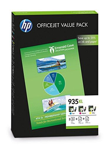 HP 935XL Pack de 3 Cartouches d'encre Authentique Haute capacité Cyan, Magenta, Jaune et 75 feuilles de papier A4 (F6U78AE)