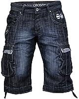 Crosshatch - Short Jeans Cargo Homme Combat Fade Eté Designer Tendance