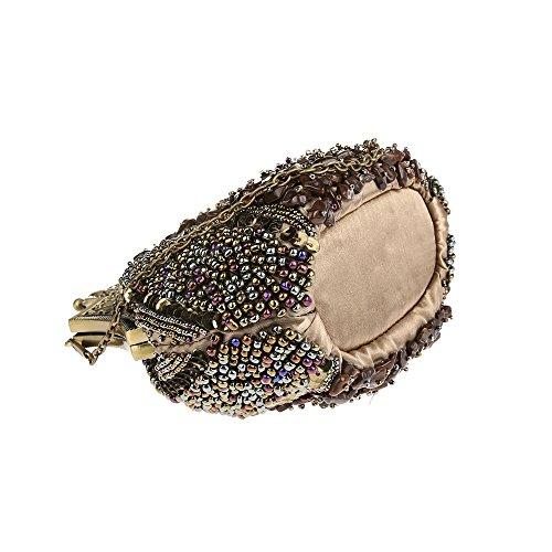 Damen Samen-Perlen Abendtasche Hochzeit Bead-hand-knit Abschlussball Party-Abend Handtasche (Bronze) Kaxidy ENs0n