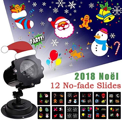LED Projektionslampe Weihnachten Dekoration, Projektor Weihnachten Halloween mit 12 Verschiedenen und Austauschbaren Musters