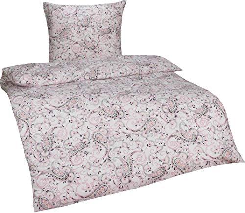 Bettwaesche Mit Stil Warme Fein Flanell Winter Bettwäsche Vintage/Retro  Blumen O. Paisley Muster (135 X 200 Cm + 80 X 80 Cm, Paisley Weiß/Rosa)