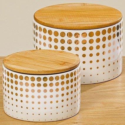 BHC Vorratsdose Set Golden Dots mit Holzdeckel Bambusdeckel Punkte Gepunktet Weiß Gold Steingut...