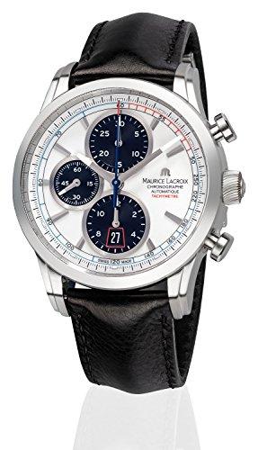Maurice Lacroix Pontos Chronographe Herren-Armbanduhr Chronograph Automatik mit schwarzem Lederband PT6288-SS001-130-1
