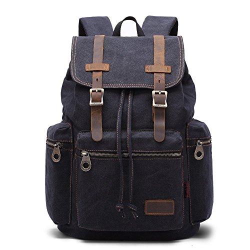 Canvas Vintage Rucksacke, KAUKKO Damen Herren Schulrucksack Retro Stylisch Backpack für Outdoor Reisen Wandern mit Großer Kapazität (Schwarz01) (Canvas Schnalle Schwarze)