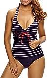 Damen Tankini Bikini Bademode Badeanzug Neckholder Uni Polster Zweiteiler Slip Top Maritm Streifen Marine 42/44 (Etikett L)