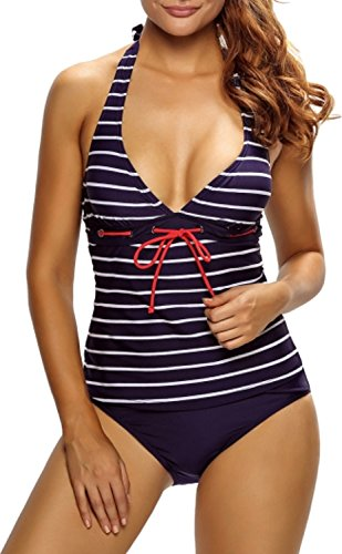 Unbekannt Damen Tankini Bikini Bademode Badeanzug Neckholder Uni Polster Zweiteiler Slip Top Maritm Streifen Marine 42/44 (Etikett L) (Gepolsterter Badeanzug Tankini Neckholder)