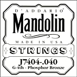 D\'Addario Corde seule en bronze phosphoreux pour mandoline D\'Addario J7404, quatrième corde, .040