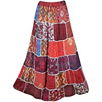 Mogul Interior Women A-Line Patchwork Skirts Maroon Rayon Flare Maxi Skirt S/M