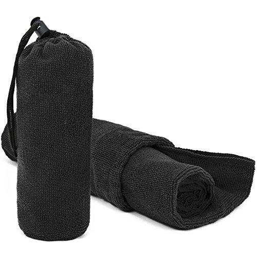 Wilhelm Sell® 2X Handtuch für Sport und Fitness, Microfaser-Handtuch in schwarz mit Tasche für Reisen, Camping und mehr, 80 x 40 cm (02 Stück - schwarz)