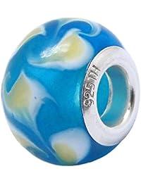 So Chic Joyas - Abalorio Charm Cristal cielo azul amarillo y blanco Patrone - Compatible con Pandora, Trollbeads, Chamilia, Biagi - Plata 925