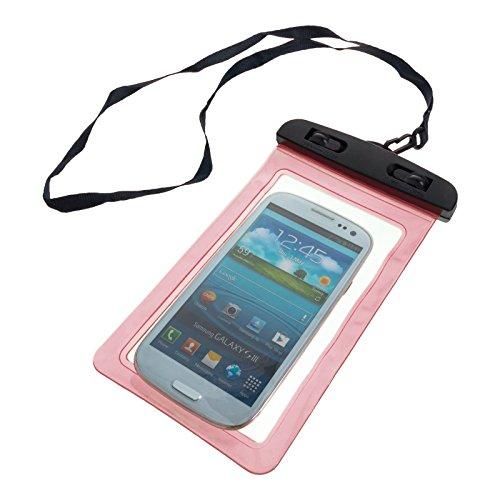 Smartfox Wasserdichte Schutzhülle Handytasche Beachbag Strandtasche Outdoor Hülle Handybeutel in rosa - Schutz vor Wasser Staub Sand