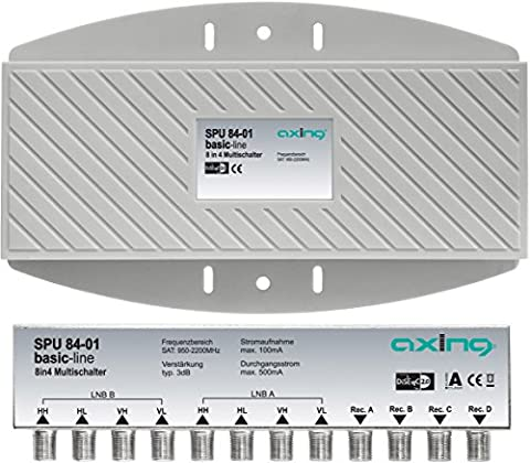 Axing SPU 84-01 Multiswitch 8 in 4 outdoor, remote powered, for 2 Quattro LNBs and 4 users